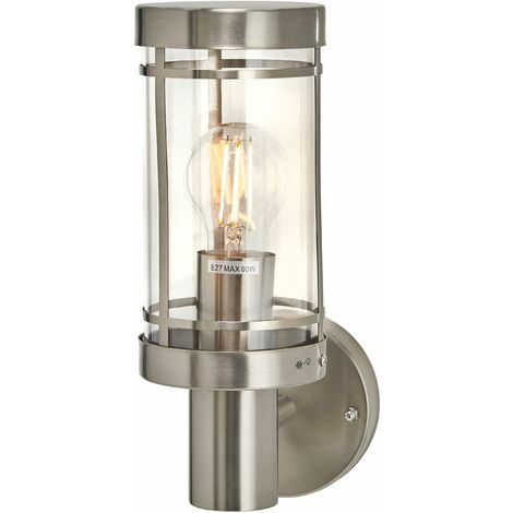 Outdoor Wall Light 'Djori' (modern) in Silver made of Stainless Steel (1 light source, E27, A++) from Lindby | wall lamp for exterior/interior walls, house, terrace & balcony