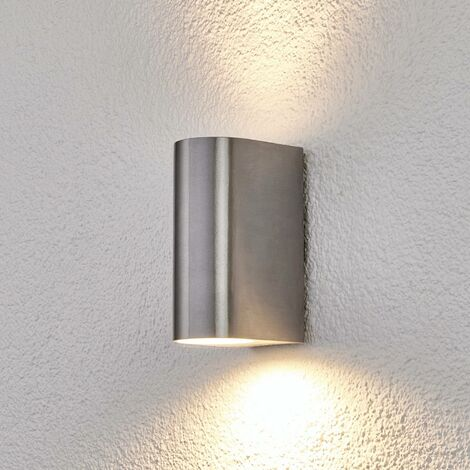 Outdoor Wall Light 'Idris' (modern) in Silver made of Aluminium (2 light sources, GU10, A++) from Lindby | wall lamp for exterior/interior walls, house, terrace & balcony