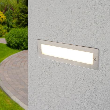 Outdoor Wall Light 'Jonte' (modern) in Silver made of Aluminium (1 light source, A+) from Lucande   brick Light, wall lamp for exterior/interior walls, house, terrace & balcony