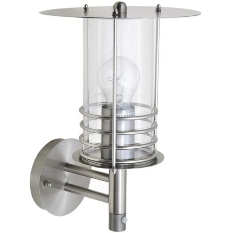 Outdoor Wall Light 'Miko' with motion detector (modern) in Silver (1 light source, E27, A++) from Lindby | wall lamp for exterior/interior walls, house, terrace & balcony