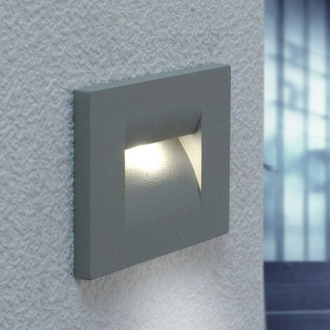 Outdoor Wall Light 'Nevin' (modern) in Silver made of Aluminium (12 light sources, A+) from Lucande | brick Light, wall lamp for exterior/interior walls, house, terrace & balcony