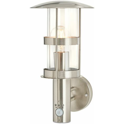 """main image of """"Outdoor Wall Light 'Noemi' with motion detector (modern) in Silver made of Stainless Steel (1 light source, E27) from Lindby 