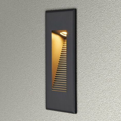 Outdoor Wall Light 'Nuno' (modern) in Black made of Aluminium (1 light source, A+) from Lucande | brick Light, wall lamp for exterior/interior walls, house, terrace & balcony