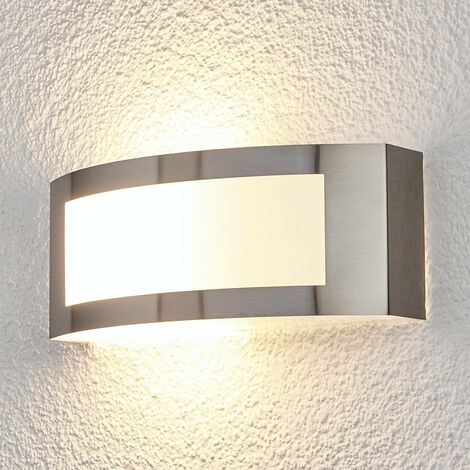 Outdoor Wall Light 'Raja' (modern) in Silver made of Stainless Steel (1 light source, E27, A++) from Lindby | wall lamp for exterior/interior walls, house, terrace & balcony