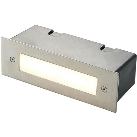 Outdoor Wall Light 'Roni' (modern) in Silver made of Stainless Steel (1 light source, A+) from Lucande   brick Light, wall lamp for exterior/interior walls, house, terrace & balcony
