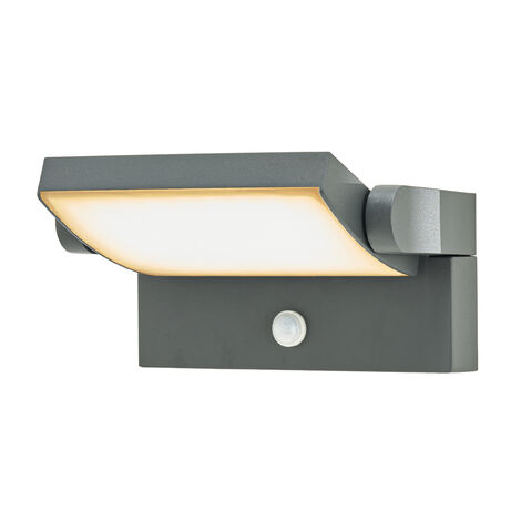 Outdoor Wall Light 'Sherin' with motion detector (modern) in Black made of Aluminium (1 light source, A+) from Lindby | wall lamp for exterior/interior walls, house, terrace & balcony