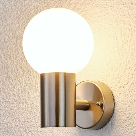 Outdoor Wall Light 'Tomma' (modern) in Silver made of Stainless Steel (1 light source, E27, A++) from Lindby | wall lamp for exterior/interior walls, house, terrace & balcony
