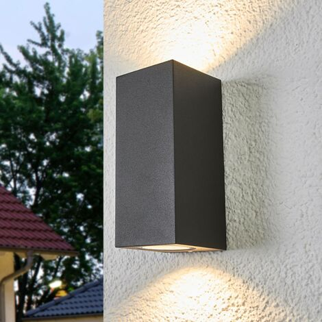 Outdoor Wall Light 'Xava' (modern) in Black made of Aluminium (2 light sources, GU10, A++) from Lucande | wall lamp for exterior/interior walls, house, terrace & balcony