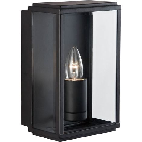 Outdoor wall & porch light - 1 light black rectangle box