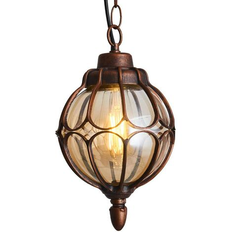 "main image of ""Outdoor Waterproof Ceiling Lights, Glass Ball Waterproof Outdoor Hanging Lamps Continental Vineyard Villa Courtyard Lighting (Brown)"""