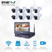 Outdoor Wireless IP Camera System WIFI NVR (8 x New 720O IP Compact CMOS IP66 Camera EZVIZ Video NVR DIY CCTV Set. 10 inch monitor, 2 TB Hard Disk) 1080p