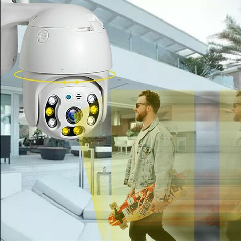 Outdoor Wireless PTZ Surveillance Camera, WiFi IP Camera, Two Way Audio, Motion Detector, Night Vision, Push Message, IP66, Support 128G SD Card (without)