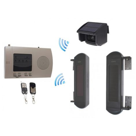 Outdoor Wireless Solar Powered PIR & Perimeter Beam Alarm Kit [004-3700]