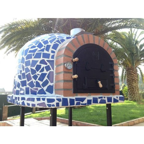 Outdoor Wood Fired Pizza Oven - Mediterrani Royal Blue Mosaic