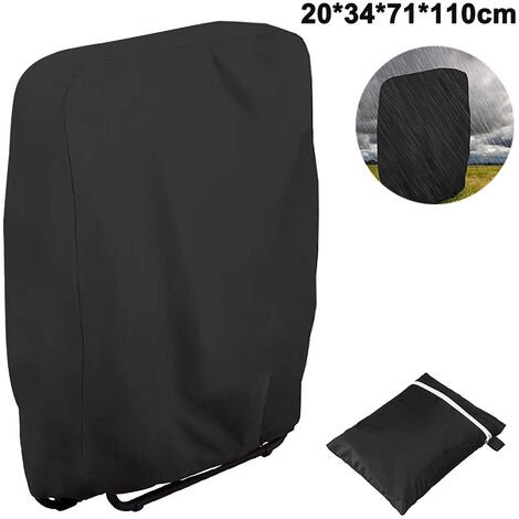 Outdoor Zero Gravity Folding Chair Cover Waterproof Dustproof Lawn Patio Furniture Covers All Weather Resistant, 20/34xW71xH110cm, black