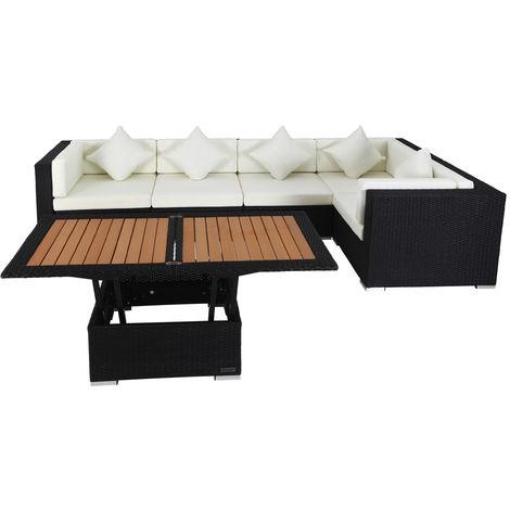 Outflexx Loungemöbel Set Polyrattan Schwarz Für 5 Personen