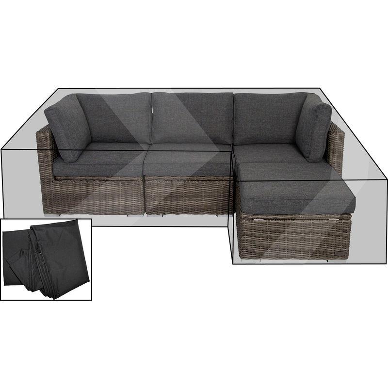 Outflexx Premium Abdeckhaube Fur Lounge Z B 18363 Box Schwarz L Form 239x157x68 Cm Wasserbestandig