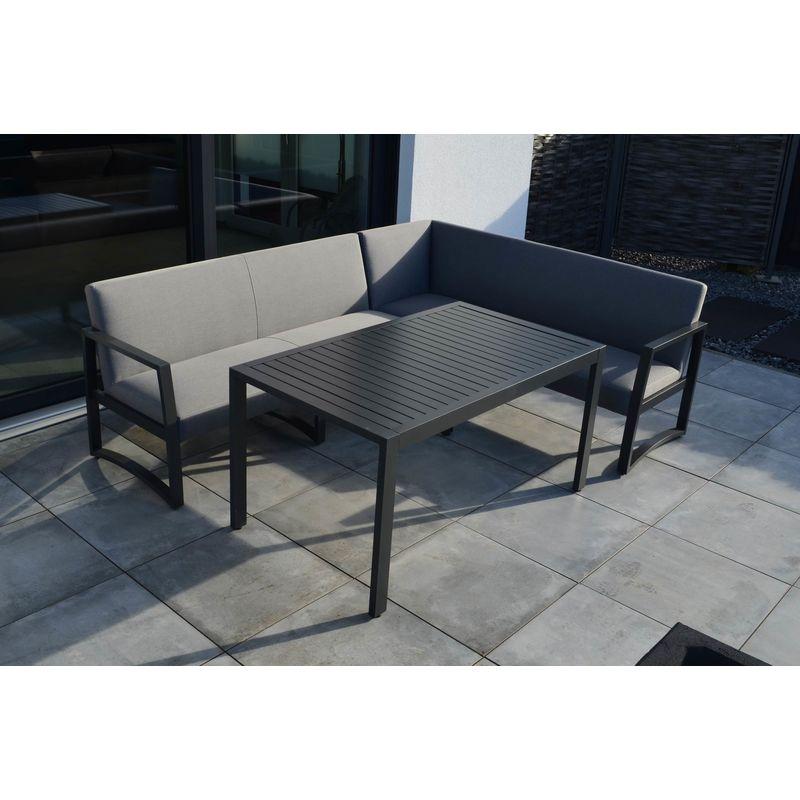Outflexx Wave Dining Lounge Flanelle Alu Sunbrella Esstisch 140