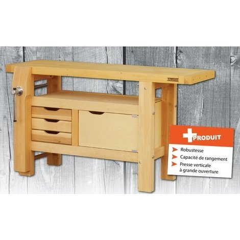 Outifrance – Etabli bois de menuisier 300Kg Long 1,5m à caisson + 3 tiroirs et 1 presse
