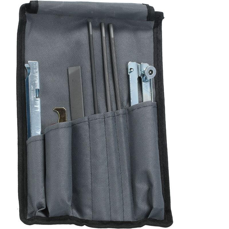 Outil d'affutage de scie electrique 8 pieces, y compris des fichiers de 5/32, 3/16 et 7/32 pouces, une jauge de profondeur et un sac a outils
