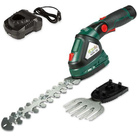 Outil de jardinage 3en1 sur batterie : Cisailles à gazon, Cisailles à arbustes, Pulvérisateur - batterie Li-Ion 12V (2Ah) et chargeur rapide 1h inclus - coupez et taillez les arbustes, taillez la pelouse, pulvérisez les plantes
