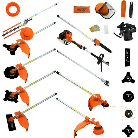 Outil de Jardinage Multifonction, Outils à Essence, Orange, 10 en 1, Cylindrée: 52 cm³
