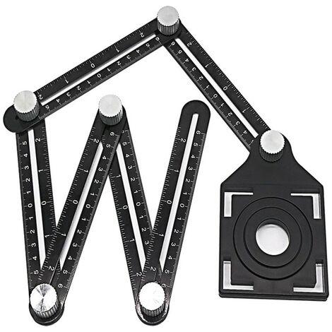 """main image of """"Outil de mesure d'angle en alliage d'aluminium à six faces - Localisateur d'ouverture universel - Règle angulariseur universelle - Outil de mesure multi-angle entièrement en métal - Règle en alliage d'aluminium améliorée (six côtés)"""""""