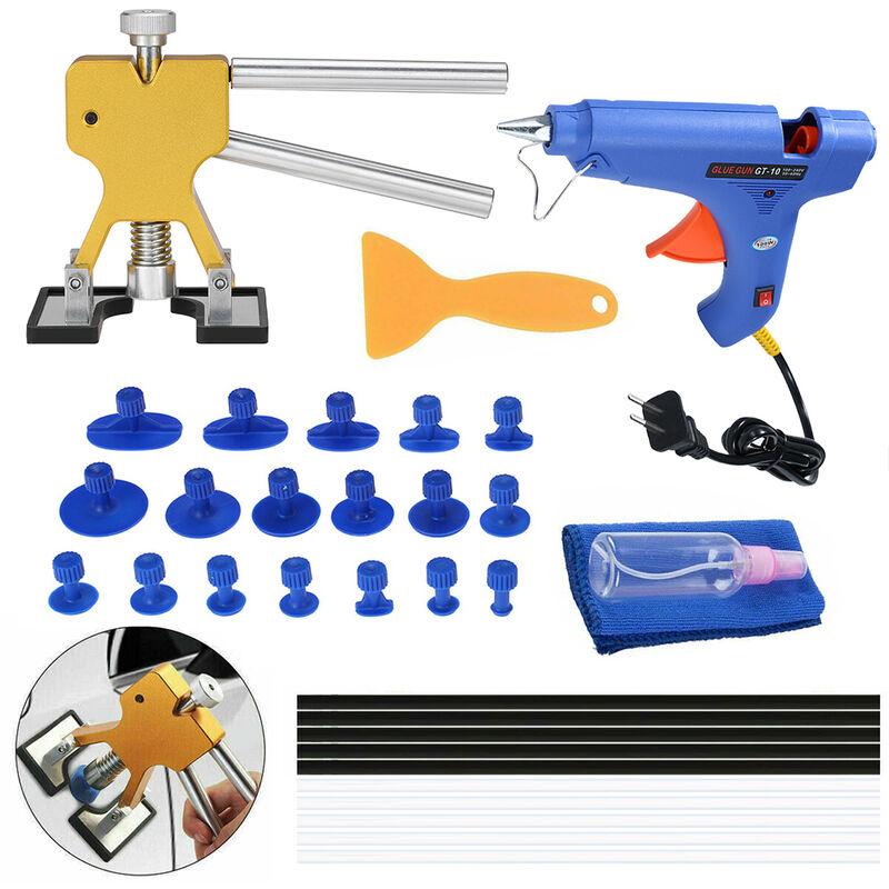 Outil de reparation de bosses sans peinture 33pcs dessin + pistolet a colle + 5 batons de colle noirs et 5 blancs + grattoir jaune + chiffon de