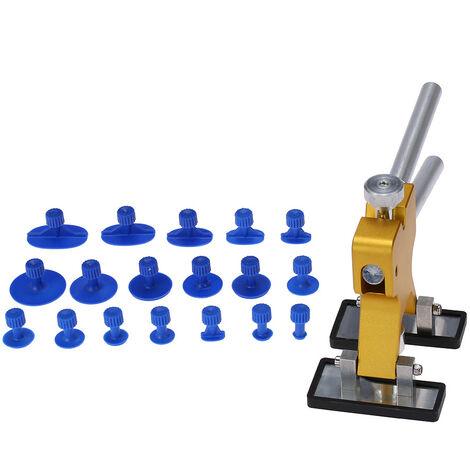 Outil de reparation de carrosserie 1 dessin dore + 18 ventouses bleues