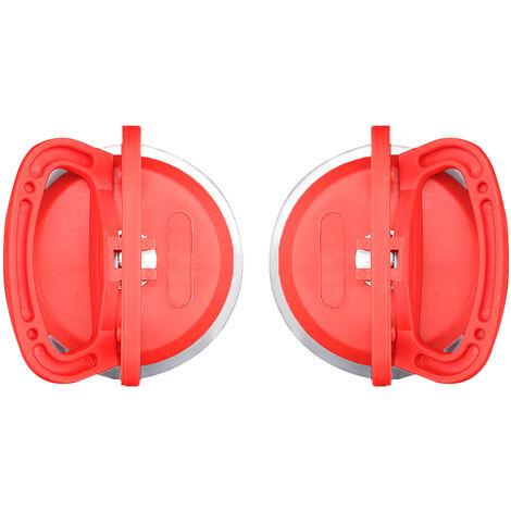 Outil de systeme de nivellement de carreaux 1 paire d'extracteur de bosses ventouse Double poignee de verrouillage pour le levage de verre/carreaux,modele : 9