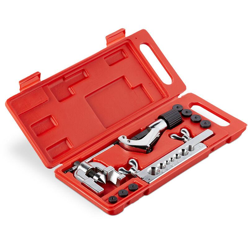 Relaxdays - Outil évaseur 5 - 16 mm; livré avec coupe-tuyau et cuivre, tuyaux en cuivre et aluminium, argent/ noir / rouge