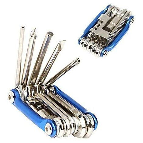 Outil multifonction de vélo, outil de réparation de vélo 11 en 1, mini-outil multifonctionnel de vélo pliable, avec clé à douille et jeu de tournevis hexagonaux (bleu)