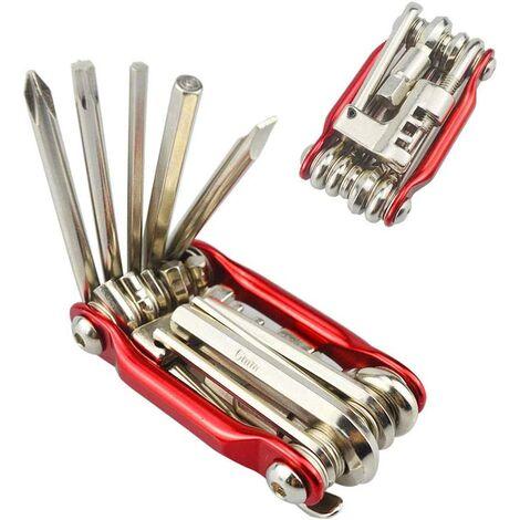 Outil multifonction de vélo, outil de réparation de vélo 11 en 1, mini outil multifonctionnel de vélo pliable, avec clé à douille et jeu de tournevis hexagonaux (rouge)