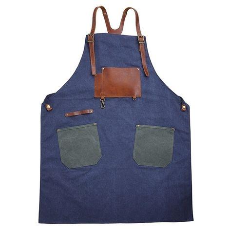Outil Tabliers de travail d'artisan en toile coton style rétro (bleu)