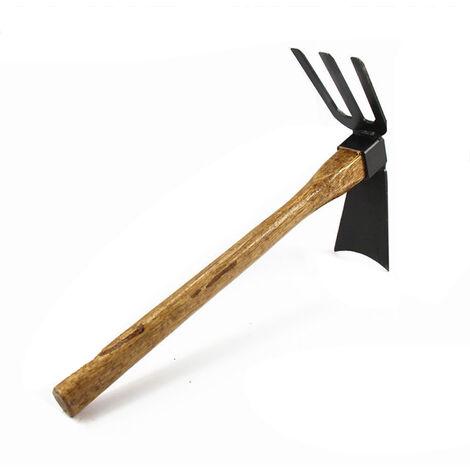 Outils agricoles, petite houe, rateau, houe a double usage avec manche en bois, houe ordinaire avec manche en bois