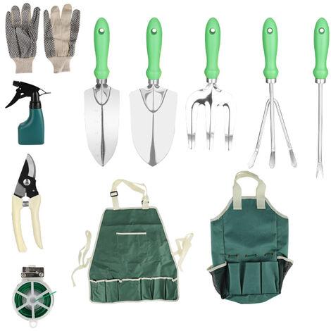 Outils De Avec Jardinage Sac Fourre-Tout Gardening Tool Kit Organisateur Pelleteuses Truelle Gants Rake Main Jardin Pulverisateur, 11Pcs