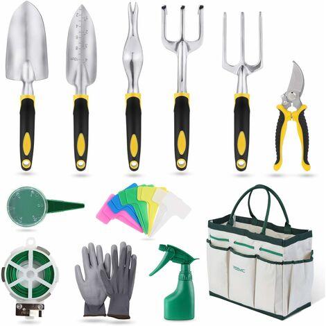 Outils de Jardinage 12 Pièces Outils de Jardin avec Sac de Rangement, Arrosoir, Gants de Jardinage