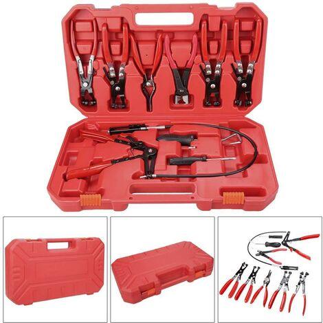 Outils de mains Auto Repair Kit 9pcs tuyau Pince Clip pince pivotante Set Jaw bande inclinée plate - argent