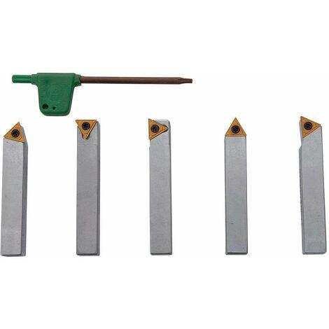 Outils de tournage à plaquettes carbure en queue de 10 mm pour tour à métaux (5 pièces)