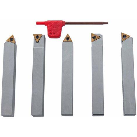 Outils de tournage à plaquettes carbure en queue de 12 mm pour tour à métaux (5 pièces)