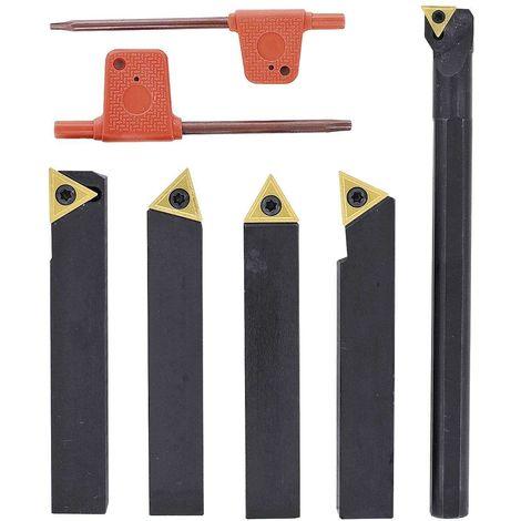 Outils de tournage à plaquettes carbure queue de 10 mm avec outil à aléser pour tour à métaux (5 pièces)