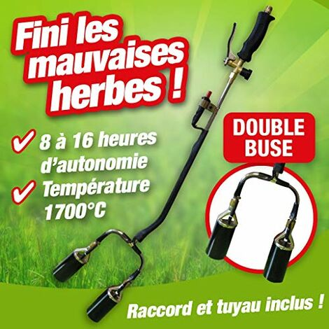 Outiror - desherbeur Thermique Double buse avec Allume piezo + detendeur Butane Propane + Tuyau 5m