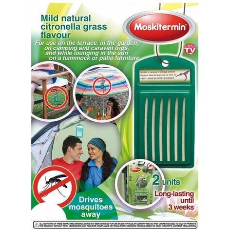 OUTLET Ahuyentador de mosquitos Moskitermin con suave fragancia a citronela, para uso exterior, larga duración