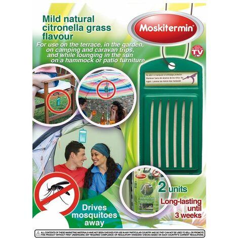 OUTLET Répulsif anti-moustiques Moskitermin au doux parfum de citronnelle, pour l'extérieur, longue durée de vie.