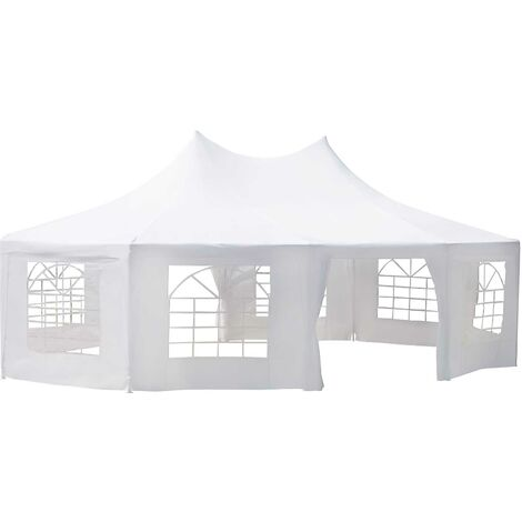Outsunny 10 Sides Decagonal Gazebo Marquee Wedding Tent Metal Frame (8.9m x 6.5m) - White