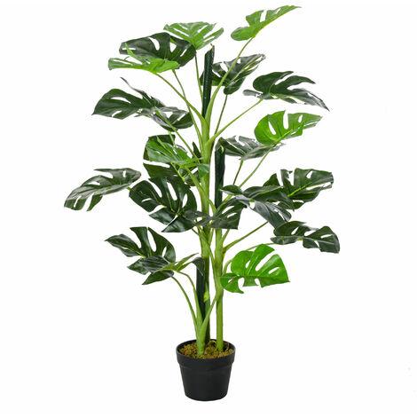 Outsunny 100cm Artificial Monstera Tree Decorative Plant w/ Pot Indoor Outdoor Décor