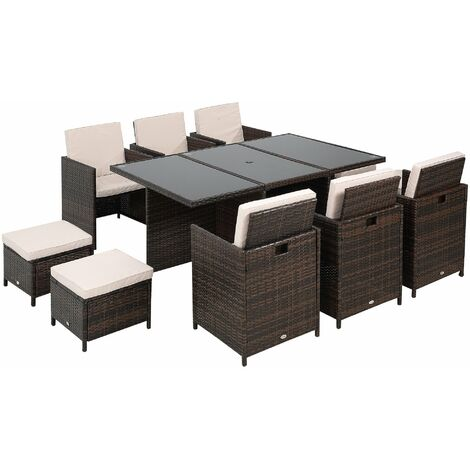 Outsunny 11pc Rattan Garden Furniture Outdoor Dining Set Cube Wicker - Brown