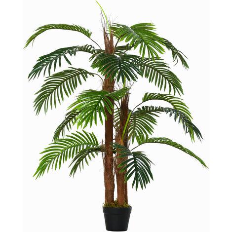 Outsunny 120cm Artificial Palm Tree Decorative Plant w/ Pot Indoor Outdoor Décor