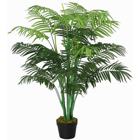 Outsunny 125cm Artificial Palm Tree Decorative Plant w/ Pot Indoor Outdoor Décor