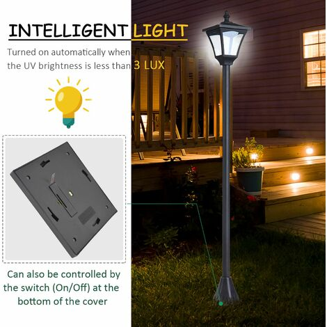 Outsunny 1.2M Plastic Outdoor Solar Light with Base Bollard Lamp Optical Control - Black